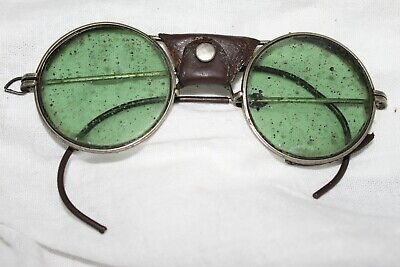 $29.99 • Buy Antique Vintage SAFETY GOGGLES  Leather Nose Piece Eye Glasses Green Lenses