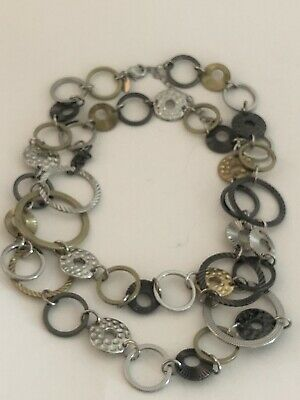 $ CDN8.15 • Buy Lia Sophia Long Multi-tone Circle Link Panel Necklace Textured Hammered Etc.