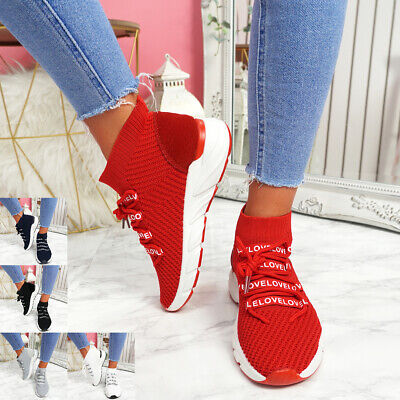 $ CDN25.56 • Buy Womens Ladies Lace Up Sock Sneakers Party Trainers Summer Women Shoes Size