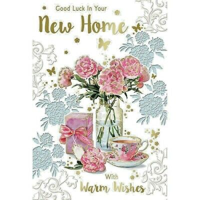 New Home Moving In New House Good Luck Card Verse Modern (9  X 6 ) Large Floral  • 3.99£