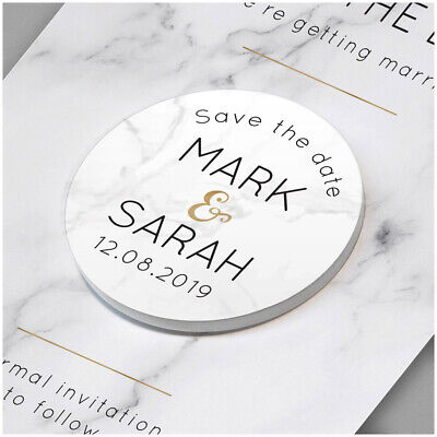 £0.99 • Buy PERSONALISED Gold Marble Wedding Save The Date Cards Fridge Magnets Invitations