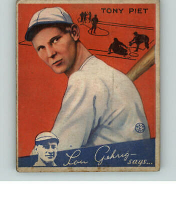 $17 • Buy 1934 Goudey #  8 Tony Piet Reds Vg-ex 359071 (kycards)