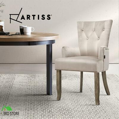 AU102 • Buy Artiss Dining Chairs French Provincial Chair Velvet Fabric Timber Retro Camel
