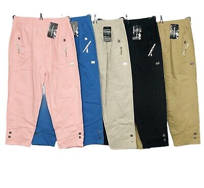 £12.99 • Buy New Ladies Cropped Three Quarter Capri Trouser Cotton Stretchy Summer Casual