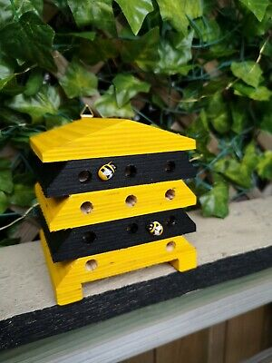 £12.99 • Buy Solitary Bee House Wood Hand Painted & Finished Home Hotel Garden Kids Learning