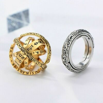 AU6.99 • Buy Creative Rotating Gold Silver Astronomical Sphere Ball Cosmic Mood Finger Ring
