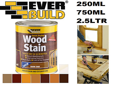 £7.25 • Buy Everbuild Wood Stain  Indoor & Outdoor Quick Drying All Colours 250ml 750ml 2.5L