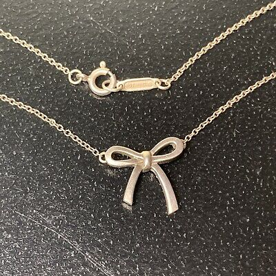 "$79 • Buy Vintage Small Bow Ribbon 16"" Necklace Authentic Tiffany & Co 925 Sterling Silver"