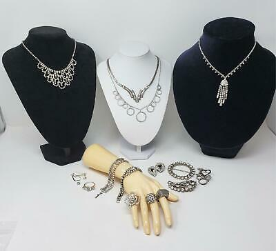 $ CDN61.10 • Buy Lot Of Vintage Rhinestone Jewelry Necklaces Rings More.. Ready To Wear Or Resell