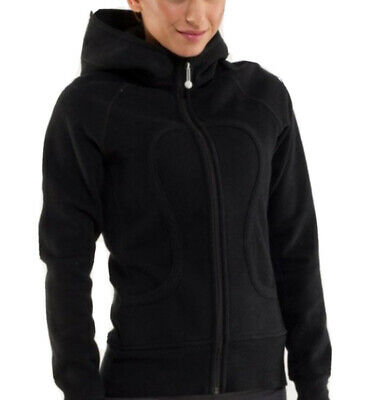 $ CDN65 • Buy LULULEMON ATHLETICA Black Vintage Cotton SCUBA HOODIE JACKET/ Coat 8-10 LARGE