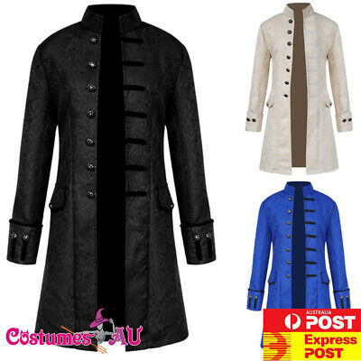 AU37.99 • Buy Mens Vintage Steampunk Costume Tailcoat Jacket Gothic Victorian Frock Coat Suit