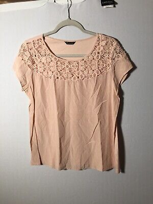 AU22.05 • Buy Massimo Dutti Womens Pale Pink Silk Blend Blouse Top Size L Short Sleeve