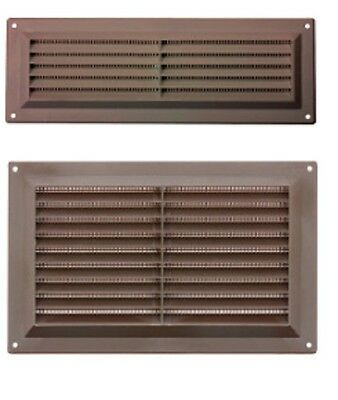 Brown Plastic Louvre Air Ventilator Vent Grille Cover Integral Flyscreen 3 Sizes • 3.49£