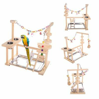 £44.99 • Buy Parrot Play Stand Bird Playground Wood Perch Gym Playpen Ladder With Feeder Gift