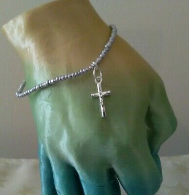 £1.55 • Buy Stretch Silver Lined Glass Seed Bead And Crucifix Cross Charm Bracelet