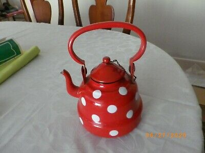 $34.99 • Buy Vintage  Enamel Polka Dot Tea Pot