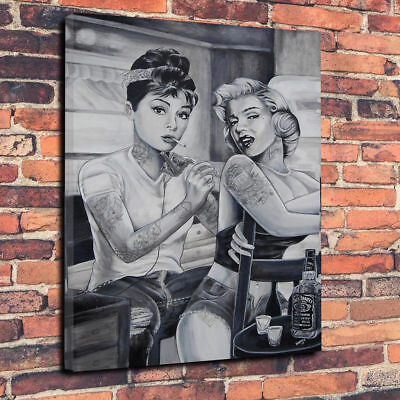 £29.99 • Buy Marilyn Monroe Audrey Hepburn Tattoo Printed Box Canvas Picture Multiple Sizes