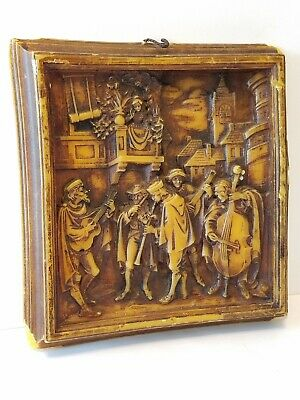 Vintage WAX Cast Or Carved RENAISSANCE MUSICIANS Framed WALL ART • 21.70£