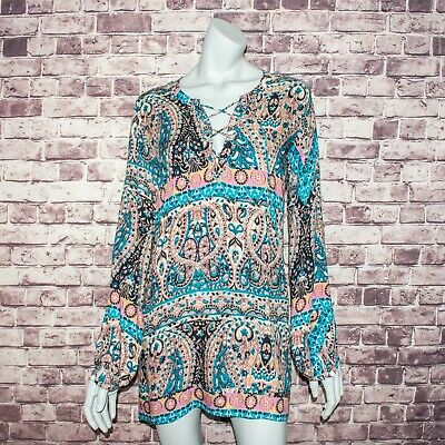 $64.99 • Buy AUGUSTE The Label Women's BOHO Lace Up Mini Dress Floral Print Size 2