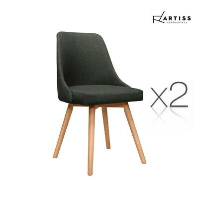 AU141.90 • Buy Artiss 2x Replica Dining Chairs Beech Wooden Chair Cafe Kitchen Fabric Charcoal