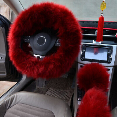 $15.61 • Buy 3* Red Wine Color Fur Wool Furry Fluffy Thick Car Steering Wheel Cover Winter