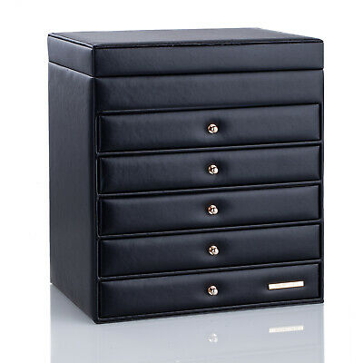 AU69.99 • Buy Large Jewellery Box Necklace Rings Earring Storage Case Mirror Display Organiser