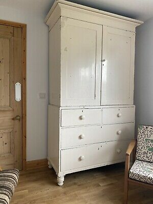 Antique Painted Oak Housekeepers Linen Press Cupboard Cottage Living Chic • 850£