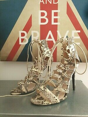 Missguided Snake Print Lace Up Heels High Shoes Size 6 UK • 10.99£