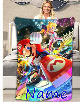 Super Mario Personalised Blanket Ultra-Soft Micro Fleece Bed Sofa Kids Bday Gift • 19.99£