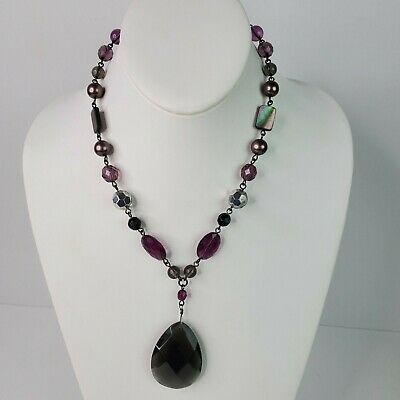 $ CDN29.65 • Buy Lia Sophia Womens Necklace Purple Black Clear Beaded – Up To 19 Inches Long