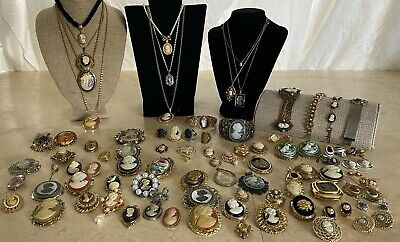 $ CDN51.76 • Buy Vintage Cameo Costume Jewelry Huge Lot 84 Pc  Some Signed