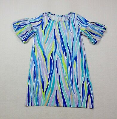 $28.88 • Buy Lilly Pulitzer Lindell Dress Womens Small Blue Purple Puff Sleeve Striped Ladies