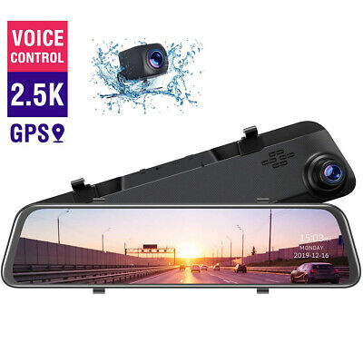AU119.50 • Buy TOGUARD 2.5K GPS Mirror Dual Dash Cam 12  Backup Camera Voice Control Rear View