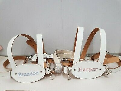 PERSONALISED Genuine White Leather Toddler Baby Reins/harness 6m - 4yr • 45£