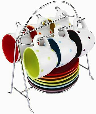 £14.99 • Buy Zodiac Colours Set Of 6 Espresso Cups & Saucers With Chrome Stand Spotty SW379
