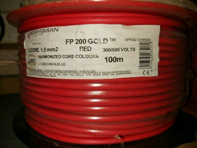 Prysmian FP200 Gold 1.5mm 2 Core+Earth PH30 Fire Rated Cable 100m Drum RED • 60£
