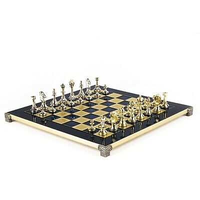 Manopoulos Classic Staunton Chess Set Gold & Silver Blue Chess Board 36 X 36  • 170£
