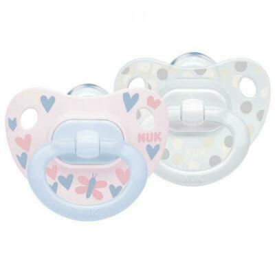 £9.40 • Buy NUK Newborn Baby Girl Soother Dummy 2 Pack HAPPY DAYS Pink Silicone 0-6 Months