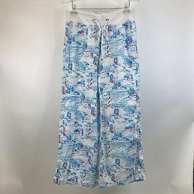 $45.99 • Buy Lilly Pulitzer Watch Out Lighthouse Beach Pants Sz M Linen White Blue Pink