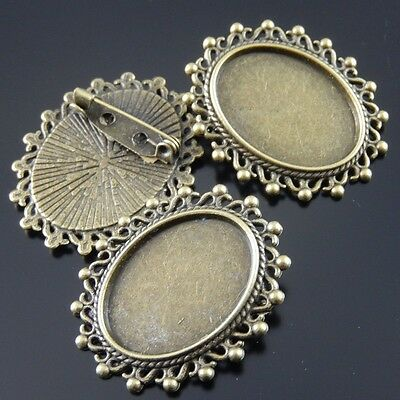 Alloy Lace Ellipse Shape Cameo Setting Pin Brooch Vintage Bronze Jewelry 15pcs • 2.69£