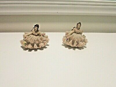 $ CDN65.21 • Buy 2 Dresden Lace Figurines Of A Lady Sitting On A Chair