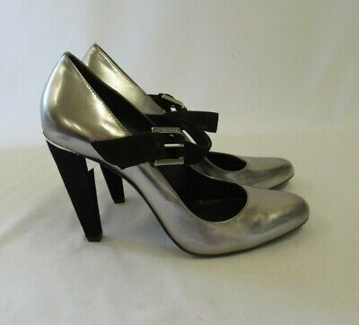 Karen Millen Silver Pewter Patent Leather Heeled Shoe With Suede Straps Size 6.5 • 15£