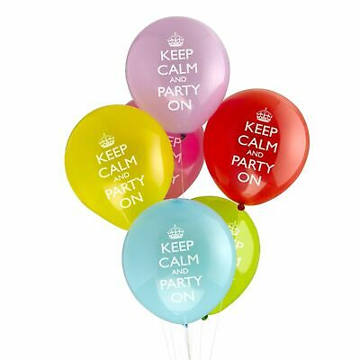 Keep Calm Party On Balloons, Multi-Coloured, Pack Of 8 • 2.50£