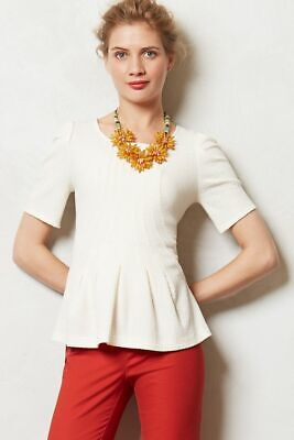 $ CDN29.92 • Buy Postmark Anthropologie Georgia Ivory Textured Peplum Top Size Medium M