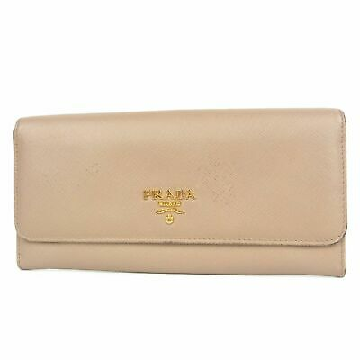 Auth PRADA Logos Saffiano Leather Billfold Long Wallet Purse Italy F/S 13257bkac • 74.05£
