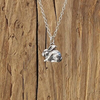 £18.99 • Buy Sterling Silver Bunny Rabbit Textured Realistic Pendant Necklace Spring Boxed