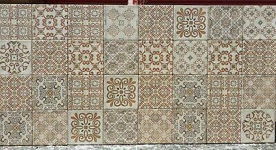 15x15cm Glossy Cream Pattern Design Vintage Effect Wall Tiles 22 Tiles Only • 35£