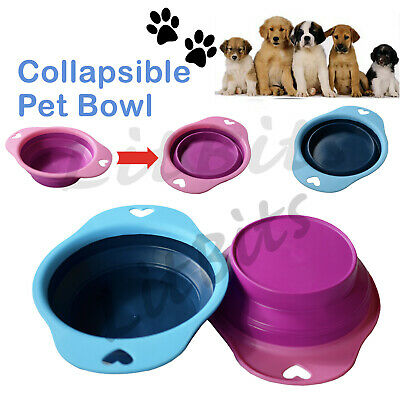 Collapsible Dog Bowl Silicone Portable Dish Fold Cat Travel Pet Food Water Feed • 3.59£