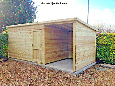 Shed With Shelter Bike Store Workshop Tanalised T&g Heavy Duty Summer House • 1,900£