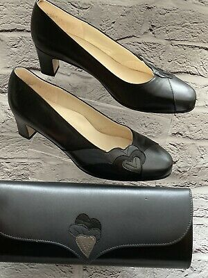 Ladies Black & Pewter Equity Court Shoes Matching Bag Size 6 Smart  • 12.99£
